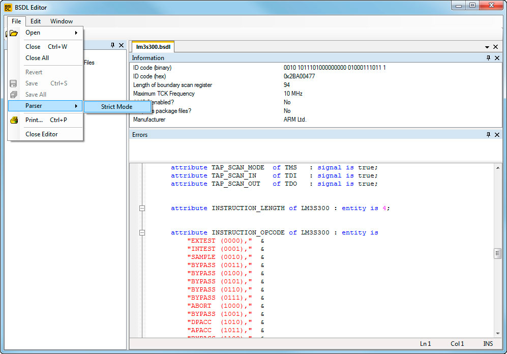 BSDL Editor Screenshot