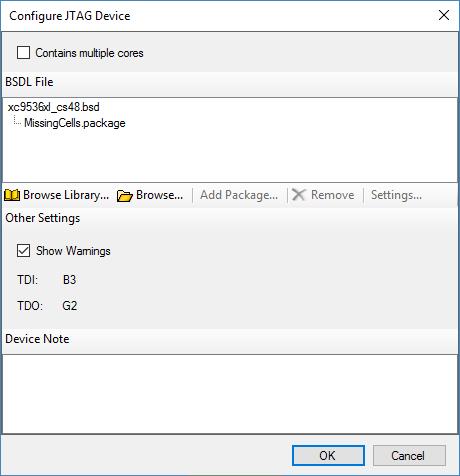 Configure JTAG Device panel
