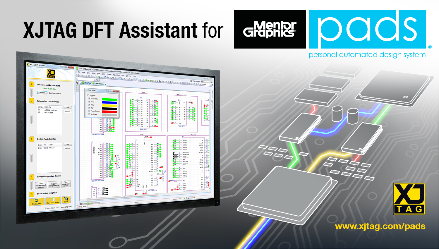XJTAG DFT Assistant for Mentor Graphics PADS plugin
