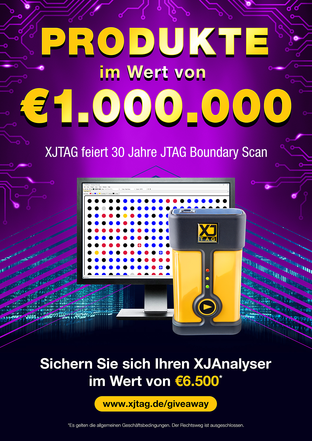 "XJTAG ""Eine Million Euro Produktvergabe""-Aktion"