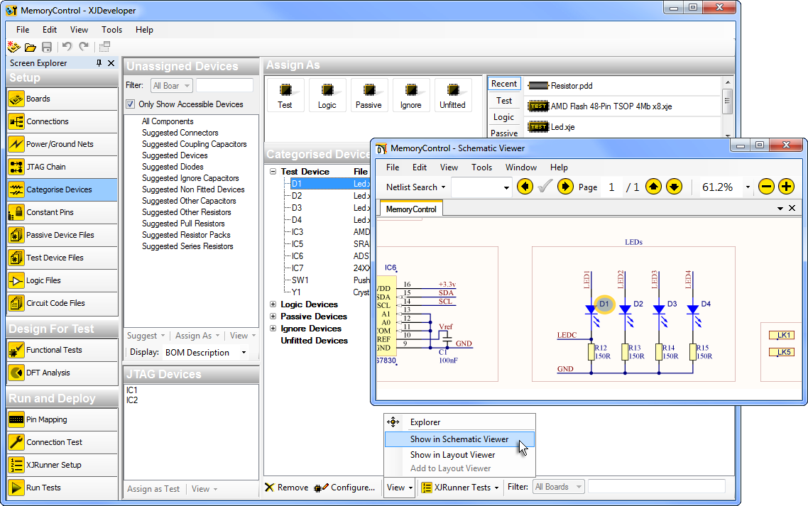 Selected device highlighted in Schematic Viewer