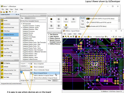 JTAG device shown in Layout Viewer from XJDeveloper