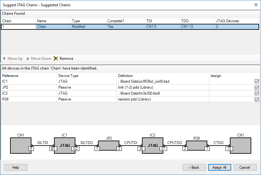 XJDeveloper - Suggested JTAG Chains Wizard