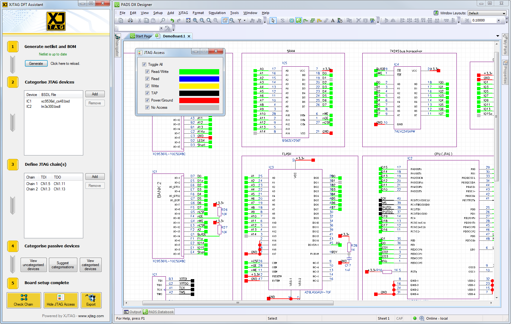 XJTAG DFT Assistant für Mentor Graphics PADS, Kostenloses JTAG Plugin